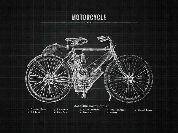 Wall Art - Digital Art - 1901 Indian Motorcycle Prototype - Black Blueprint by Aged Pixel