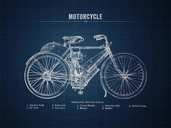 Wall Art - Digital Art - 1901 Indian Motorcycle Prototype - Dark Blueprint by Aged Pixel
