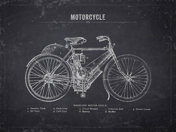 Wall Art - Digital Art - 1901 Indian Motorcycle Prototype - Dark Charcoal Grunge by Aged Pixel