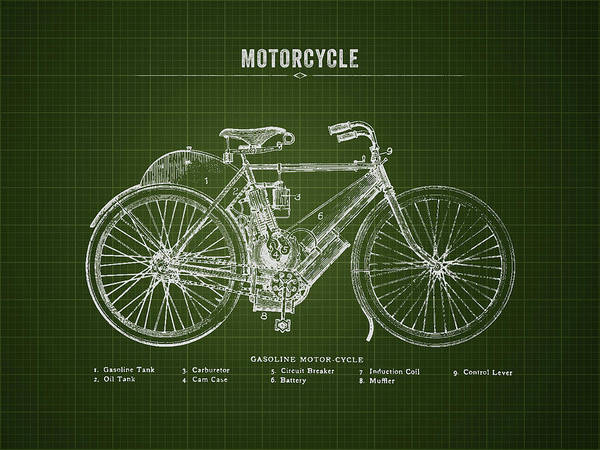 Wall Art - Digital Art - 1901 Indian Motorcycle Prototype - Dark Green Blueprint by Aged Pixel