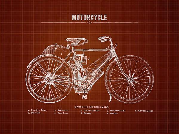 Wall Art - Digital Art - 1901 Indian Motorcycle Prototype - Dark Red Blueprint by Aged Pixel