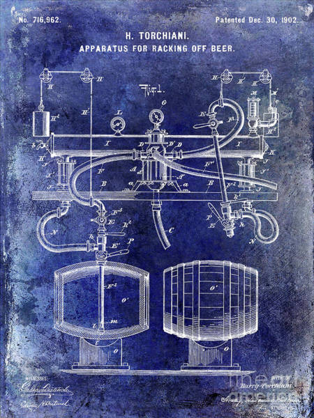 Wall Art - Photograph - 1902 Beer Racking Patent Blue by Jon Neidert