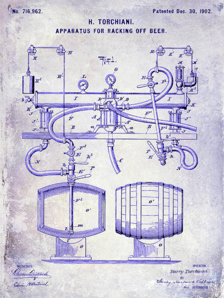 Wall Art - Photograph - 1902 Beer Racking Patent Blueprint by Jon Neidert