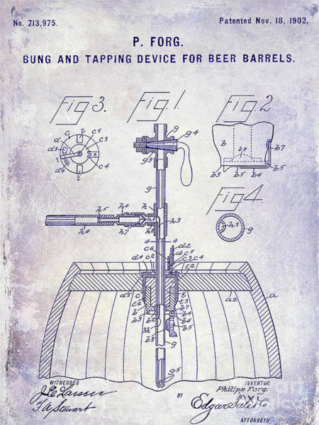 Wall Art - Photograph - 1902 Beer Tapping Device Patent Blueprint by Jon Neidert