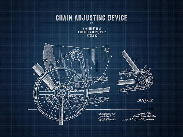 Wall Art - Digital Art - 1902 Indian Motorcycle Chain Adjusting Device - Dark Blueprint by Aged Pixel