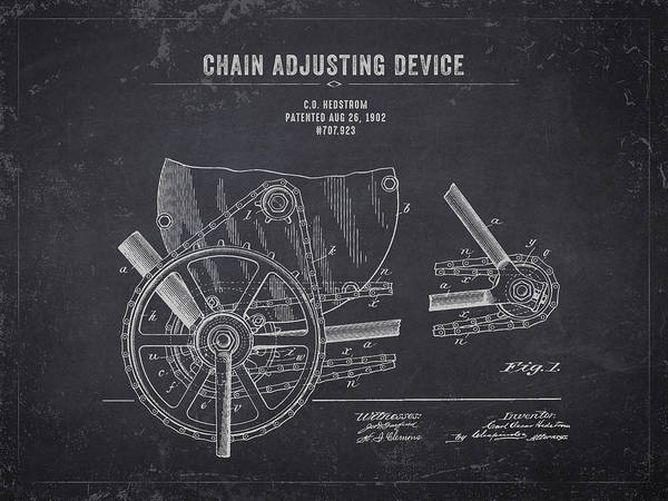 Wall Art - Digital Art - 1902 Indian Motorcycle Chain Adjusting Device - Dark Charcoal Gr by Aged Pixel