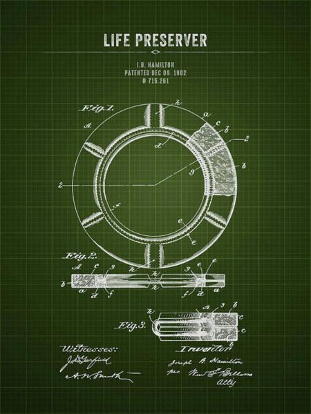 Ring Digital Art - 1902 Life Preserver - Dark Green Blueprint by Aged Pixel