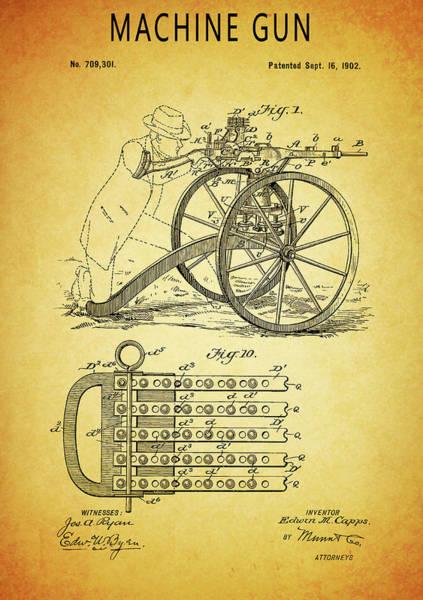 Wall Art - Glass Art - 1902 Machine Gun Patent by Dan Sproul
