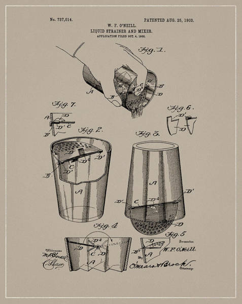 Wall Art - Drawing - 1903 Drink Mixer Patent by Dan Sproul