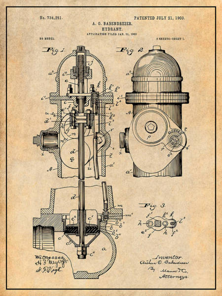 Pump Drawing - 1903 Fire Hydrant Antique Paper Patent Print by Greg Edwards