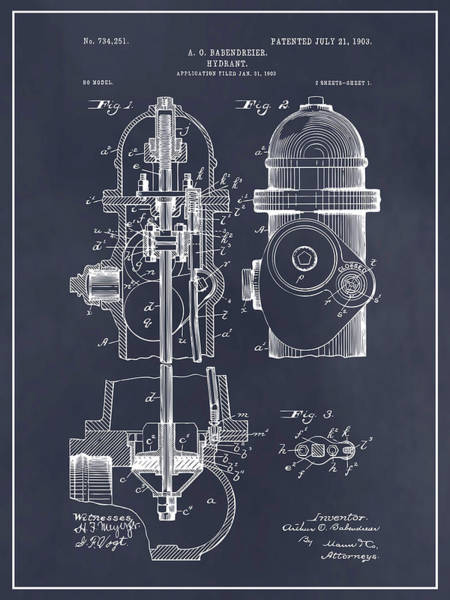 Pump Drawing - 1903 Fire Hydrant Blackboard Patent Print by Greg Edwards