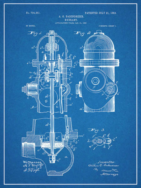 Pump Drawing - 1903 Fire Hydrant Blueprint Patent Print by Greg Edwards