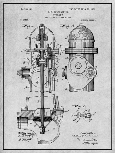Pump Drawing - 1903 Fire Hydrant Gray Patent Print by Greg Edwards
