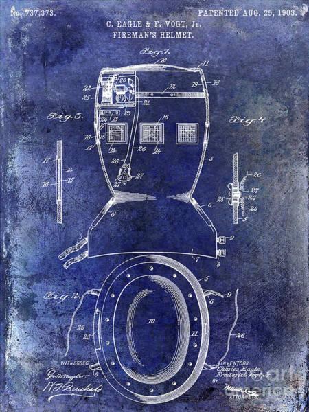 Wall Art - Photograph - 1903 Firemans Helmet Patent Blue by Jon Neidert