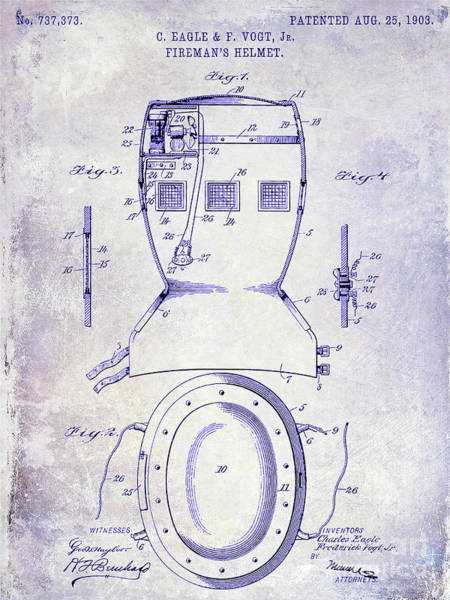 Wall Art - Photograph - 1903 Firemans Helmet Patent Blueprint by Jon Neidert