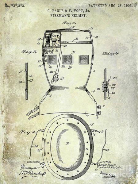 Wall Art - Photograph - 1903 Firemans Helmet Patent by Jon Neidert