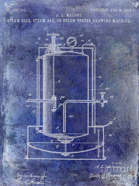 Wall Art - Photograph - 1904 Beer Drawing Machine Patent Blue by Jon Neidert