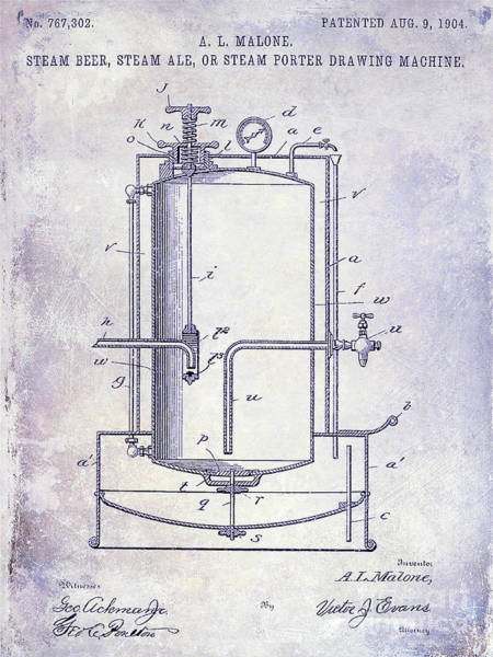 Wall Art - Photograph - 1904 Beer Drawing Machine Patent  Blueprint by Jon Neidert