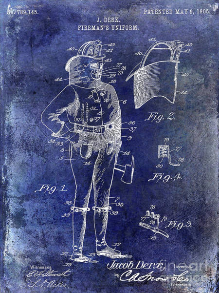 Wall Art - Photograph - 1905 Firemans Uniform Patent Blue by Jon Neidert