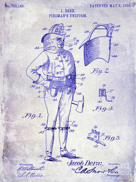 Wall Art - Photograph - 1905 Firemans Uniform Patent Blueprint by Jon Neidert