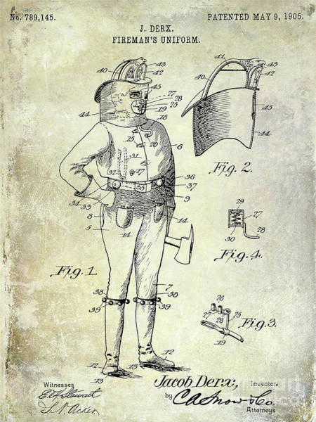 Wall Art - Photograph - 1905 Firemans Uniform Patent by Jon Neidert