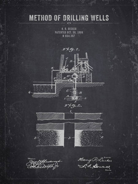 Wall Art - Digital Art - 1906 Method Of Drilling Wells - Dark Charcoal Grunge by Aged Pixel