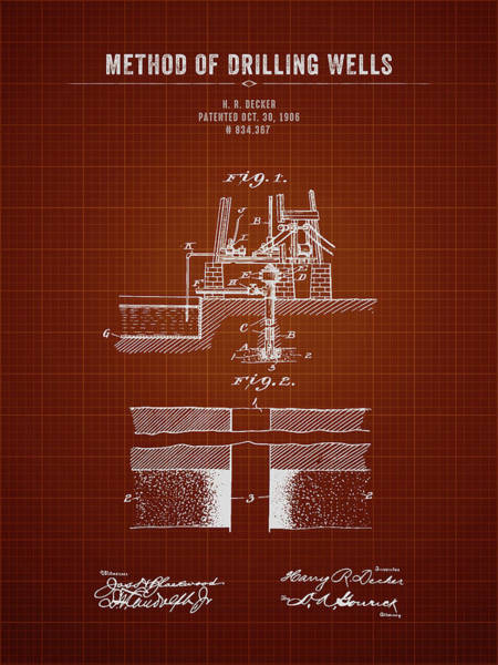Wall Art - Digital Art - 1906 Method Of Drilling Wells - Dark Red Blueprint by Aged Pixel