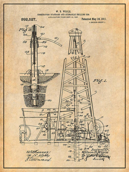 Petroleum Drawing - 1907 Oil Drilling Rig Antique Paper Patent Print by Greg Edwards