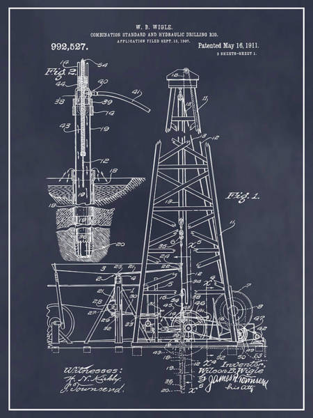 Petroleum Drawing - 1907 Oil Drilling Rig Blackboard Patent Print by Greg Edwards