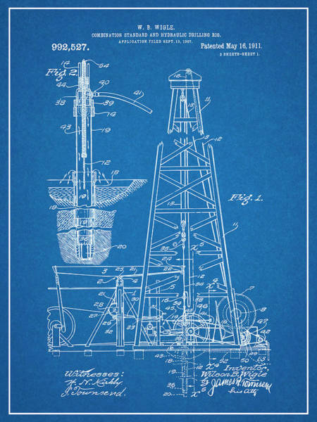 Petroleum Drawing - 1907 Oil Drilling Rig Blueprint Patent Print by Greg Edwards