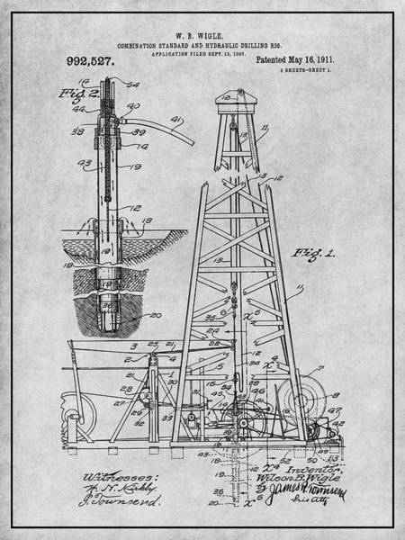 Petroleum Drawing - 1907 Oil Drilling Rig Gray Patent Print by Greg Edwards