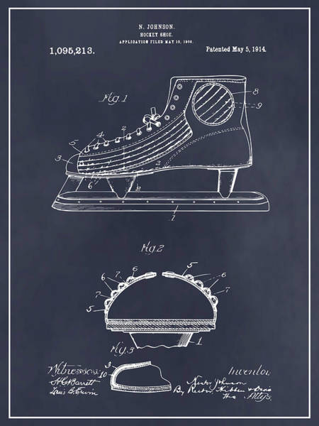 Wall Art - Drawing - 1909 Hockey Skate Blackboard Patent Print by Greg Edwards