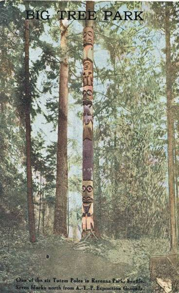 Wall Art - Painting - 1909 Totem Pole, Ravenna Park, Seattle, Wa Alaska Yukon Pacific Exposition by Celestial Images