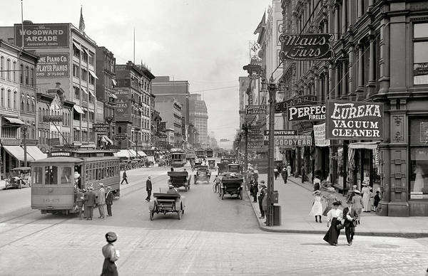 Wall Art - Painting - 1910 Photo  Detroit Michigan, Downtown  Antique  Woodward Ave by Celestial Images