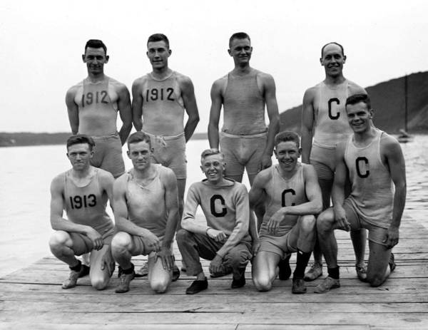 Wall Art - Painting - 1911 Cornell Varsity Crew Team Vintage Photograph by Celestial Images