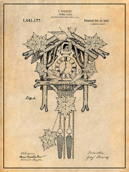 Cuckoo Drawing - 1911 Cuckoo Clock Antique Paper Patent Print by Greg Edwards