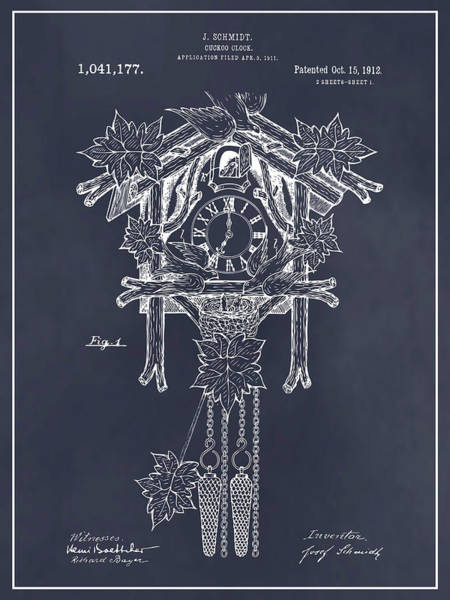 Cuckoo Drawing - 1911 Cuckoo Clock Blackboard Patent Print by Greg Edwards