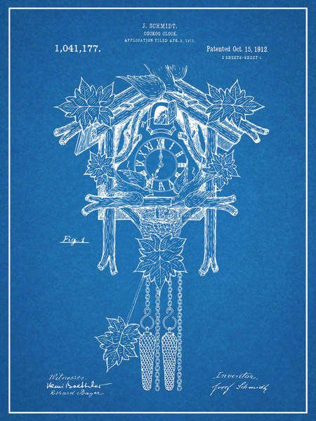 Cuckoo Drawing - 1911 Cuckoo Clock Blueprint Patent Print by Greg Edwards