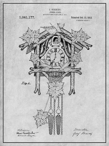 Cuckoo Drawing - 1911 Cuckoo Clock Gray Patent Print by Greg Edwards
