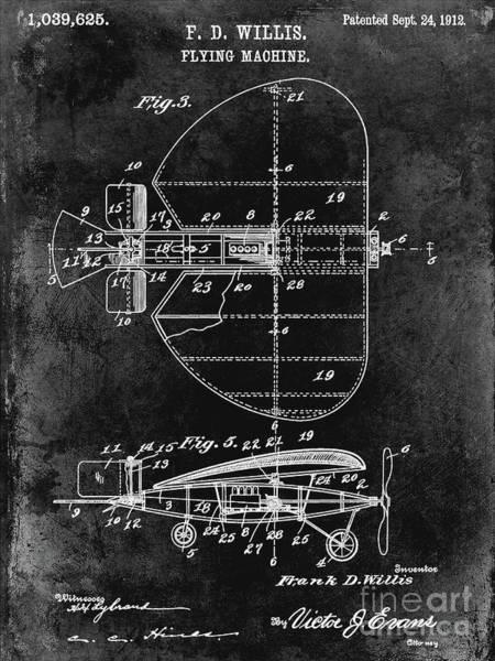 Wall Art - Photograph - 1912 Flying Machine Patent Black by Jon Neidert