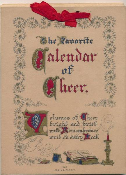 Wall Art - Painting - 1913 Calendar Of Cheer With Quotations On 2-wk. Pages Tied Together With Ribbon by Celestial Images