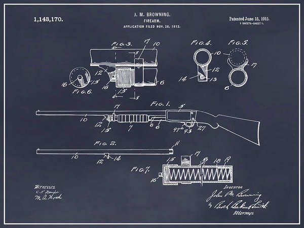 Pump Drawing - 1913 Remington Model 17 Pump Shotgun Blackboard Patent Print by Greg Edwards