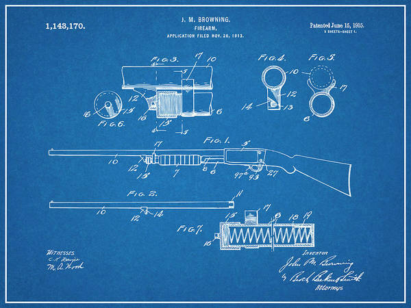 Pump Drawing - 1913 Remington Model 17 Pump Shotgun Blueprint Patent Print by Greg Edwards