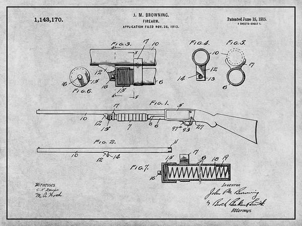 Pump Drawing - 1913 Remington Model 17 Pump Shotgun Gray Patent Print by Greg Edwards
