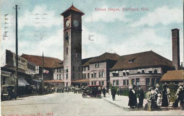 Wall Art - Painting - 1913 Union Train Railroad Depot, Portland, Or Tinted Postcard, Parcel Post Stamp by Celestial Images