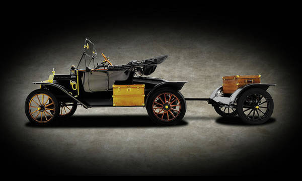 Wall Art - Photograph - 1914 Model T Ford Runabout Convertible  -  1914fordmodeltconvertibletexture149300 by Frank J Benz