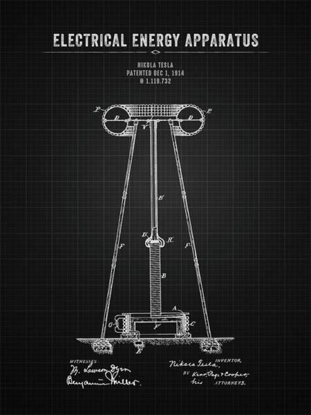 Wall Art - Digital Art - 1914 Nikola Tesla Electrical Energy Apparatus - Black Blueprint by Aged Pixel