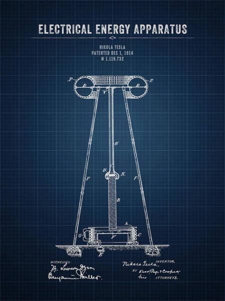 Wall Art - Digital Art - 1914 Nikola Tesla Electrical Energy Apparatus - Dark Blueprint by Aged Pixel
