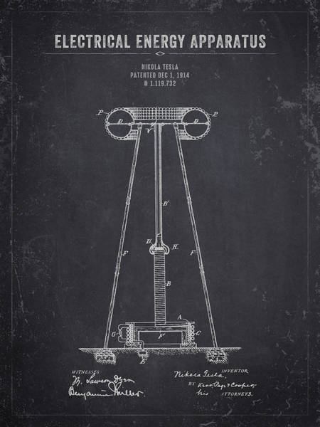 Wall Art - Digital Art - 1914 Nikola Tesla Electrical Energy Apparatus - Dark Charcoal Gr by Aged Pixel