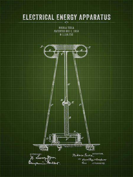 Wall Art - Digital Art - 1914 Nikola Tesla Electrical Energy Apparatus - Dark Green Bluep by Aged Pixel